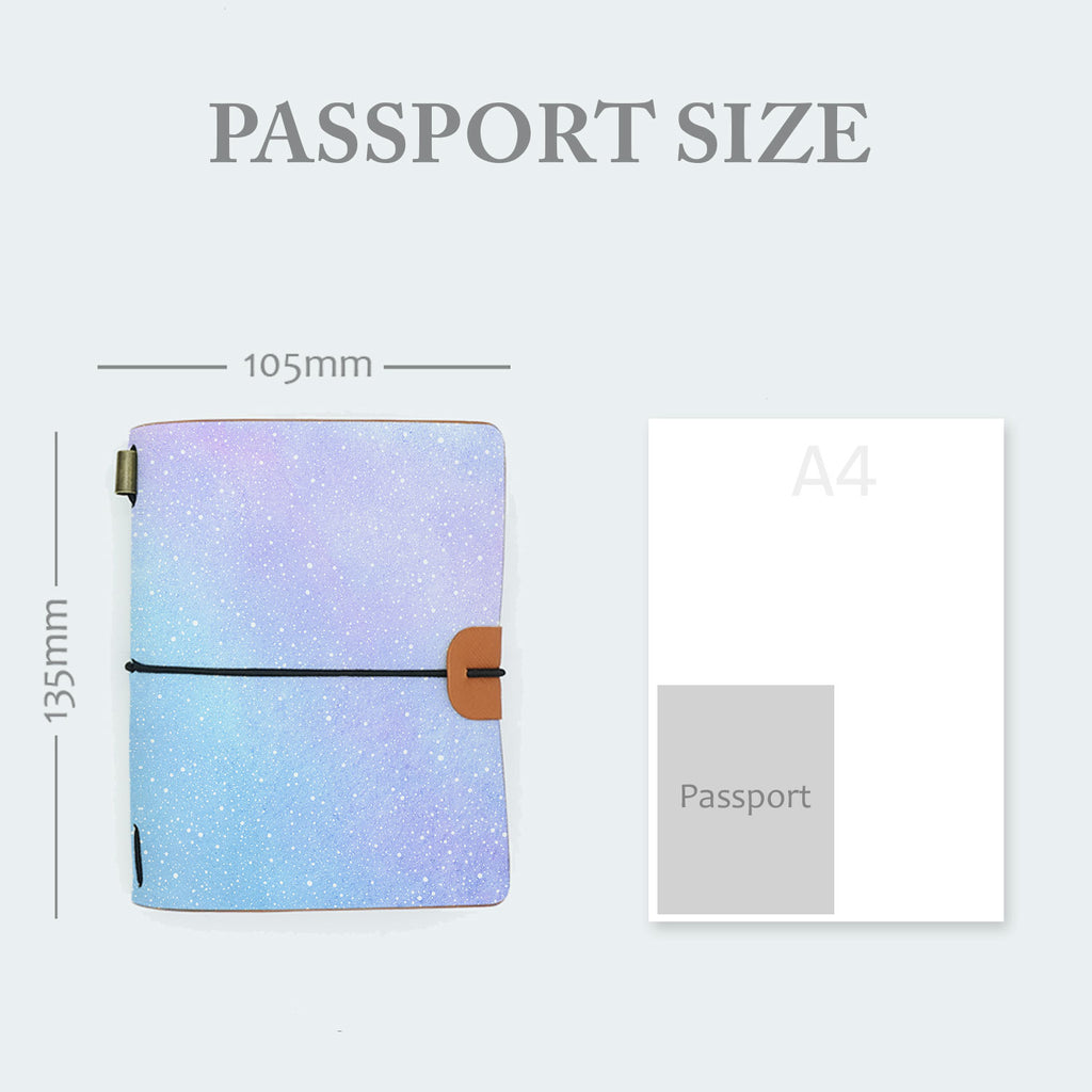 midori style traveler's notebook with ombre pastel galaxy design in passport size 135mm x 105mm