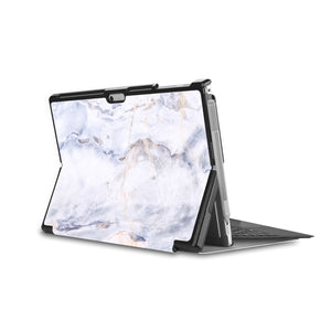 the back side of Personalized Microsoft Surface Pro and Go Case in Movie Stand View with Marble design - swap