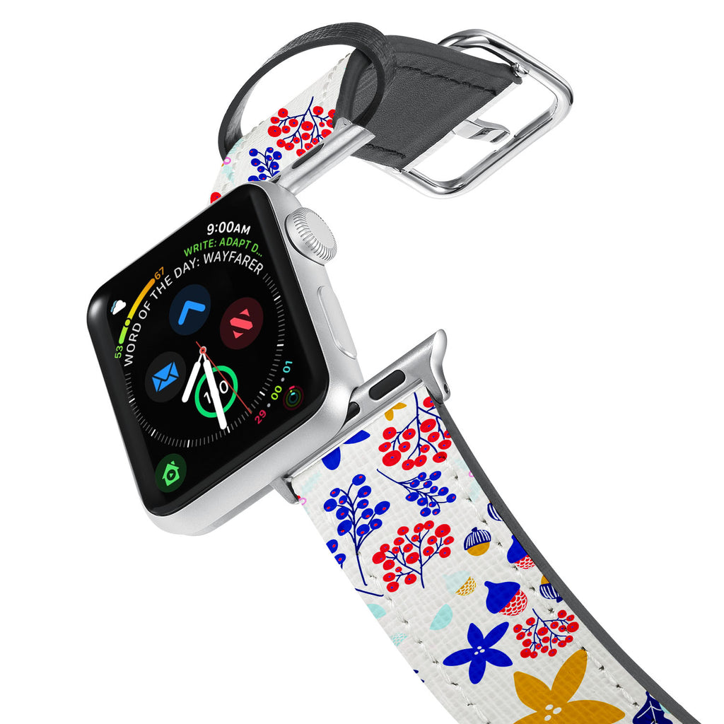 Printed Leather Apple Watch Band with Winter Pattern design. Designed for Apple Watch Series 4,Works with all previous versions of Apple Watch.