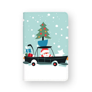 front view of personalized RFID blocking passport travel wallet with Santa Express design