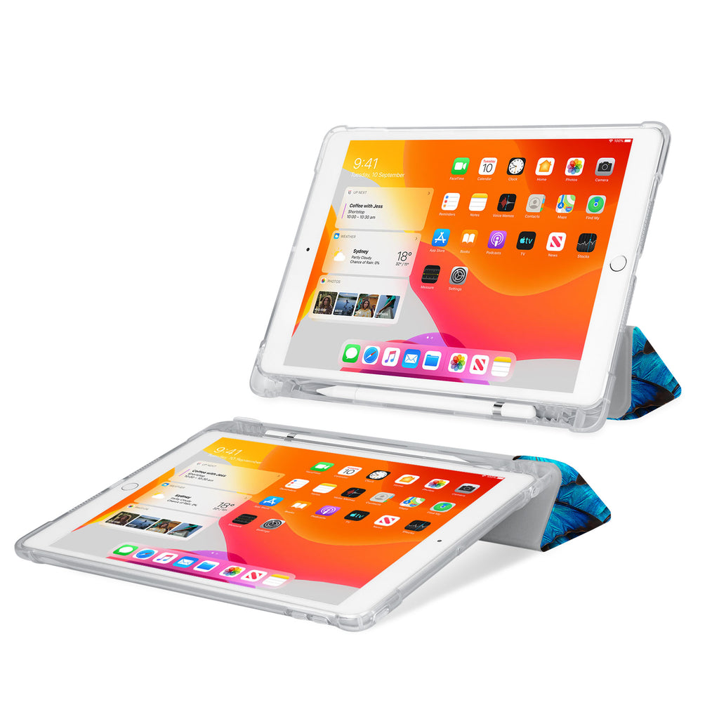iPad SeeThru Casd with Butterfly Design Rugged, reinforced cover converts to multi-angle typing/viewing stand