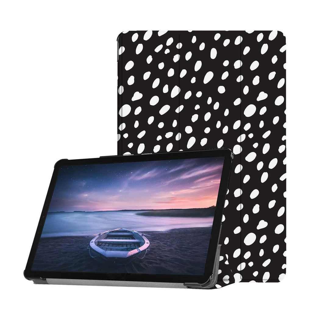 Personalized Samsung Galaxy Tab Case with Polka Dot design provides screen protection during transit