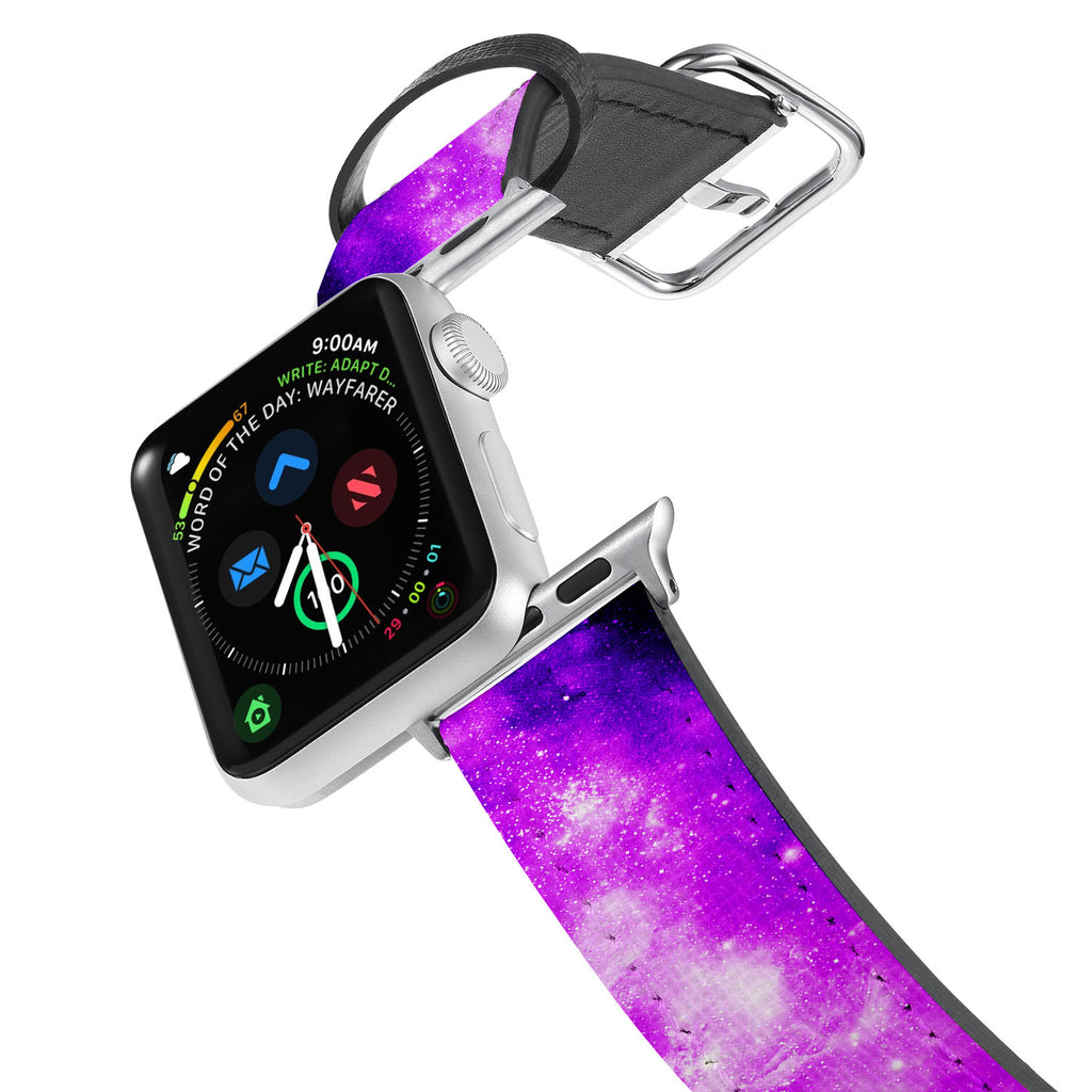 Printed Leather Apple Watch Band with Universe design. Designed for Apple Watch Series 4,Works with all previous versions of Apple Watch.