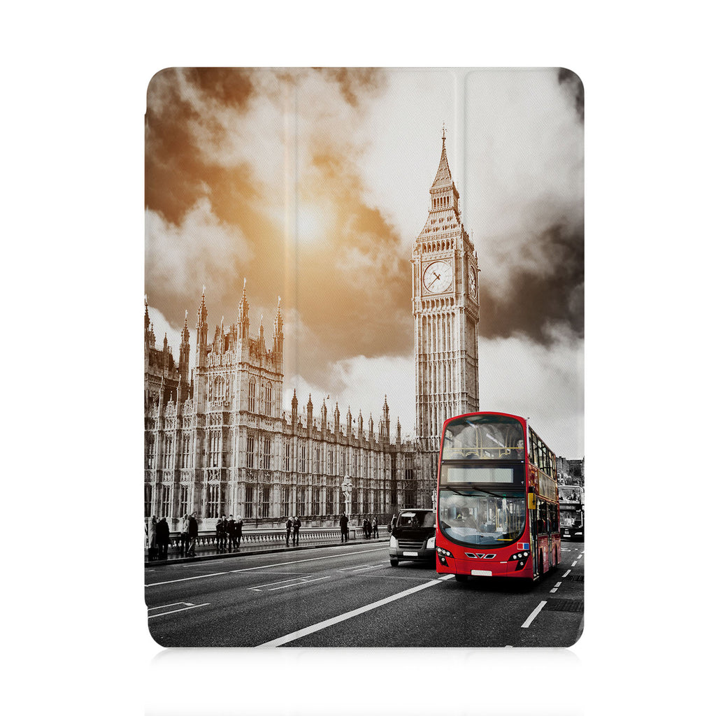 front view of personalized iPad case with pencil holder and London design