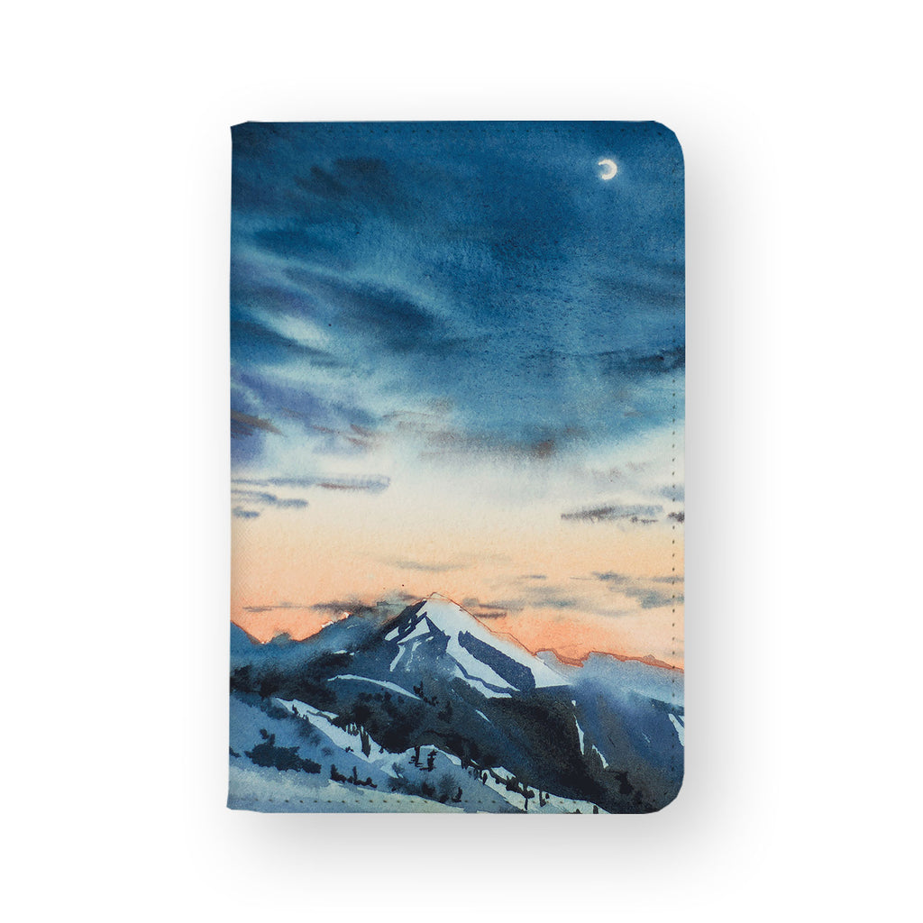 front view of personalized RFID blocking passport travel wallet with Landscape design
