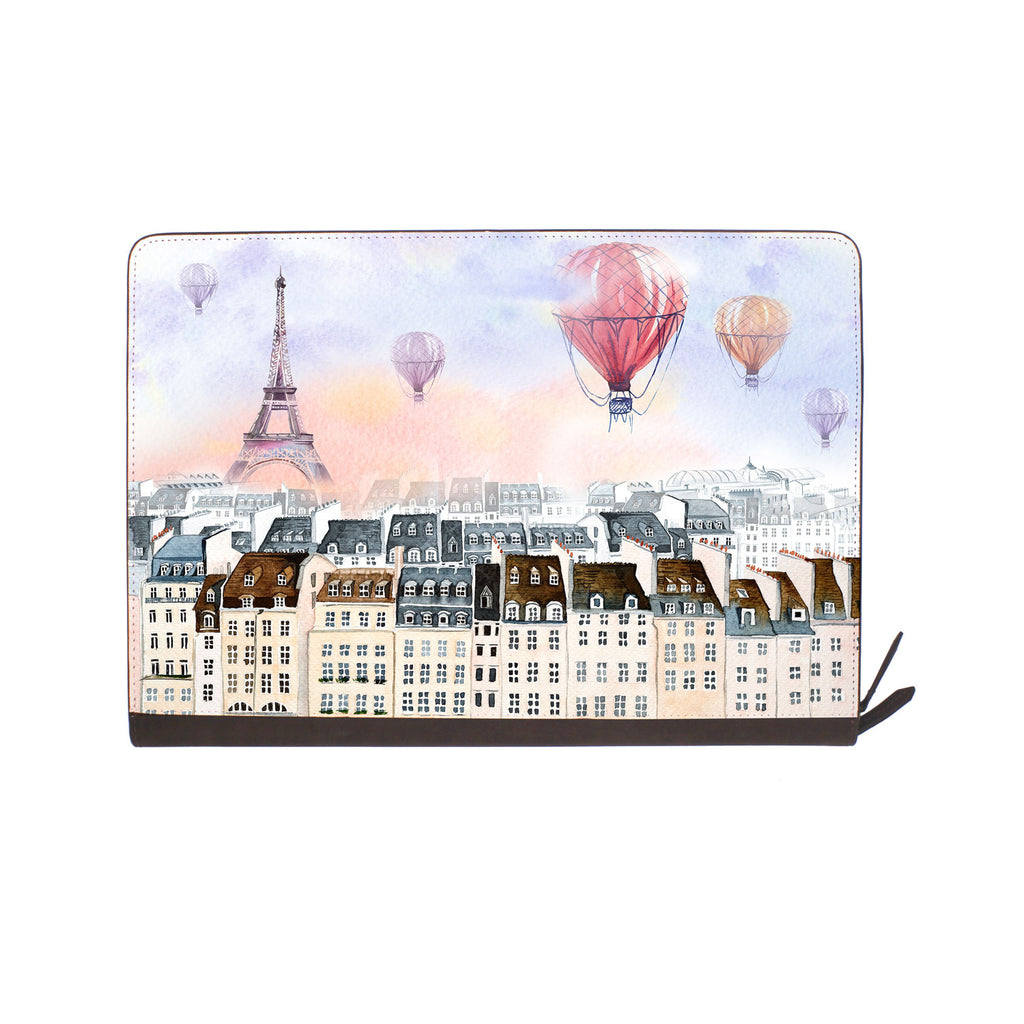 front view of personalized Macbook carry bag case with Travel design