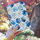 a girl holding personalized RFID blocking passport travel wallet with Geometric Flower design