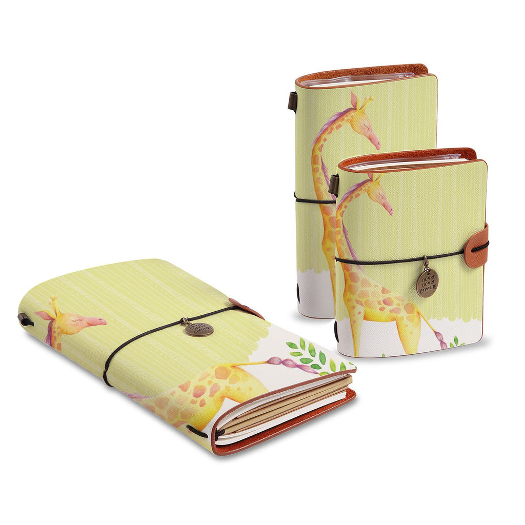 three size of midori style traveler's notebooks with Cute Animal 2 design