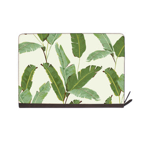front view of personalized Macbook carry bag case with Green Leaves design