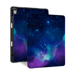 front and back view of personalized iPad case with pencil holder and Watercolor Universe design