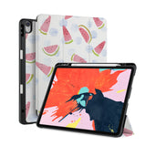 front back and stand view of personalized iPad case with pencil holder and Fruit design