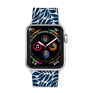 Our Printed Leather Apple Watch Band with Leaves 1 design are made of water- and scratch-resistant saffiano leather because we know you wear your apple watch every, single, day. - swap