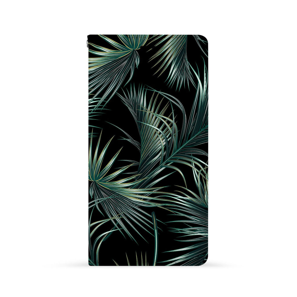 Front Side of Personalized Huawei Wallet Case with Flower Black design
