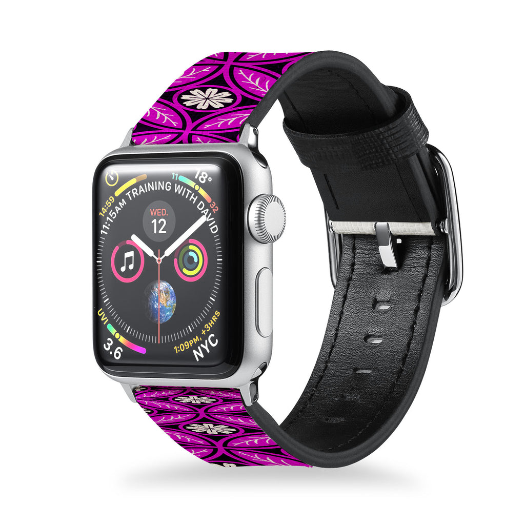 Handmade Printed Leather Apple Watch Band with Moroccan Pink Pattern design from buttery-smooth leather - swap