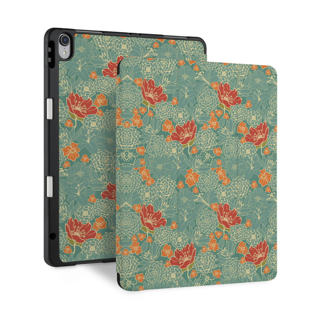 front and back view of personalized iPad case with pencil holder and Blossom design