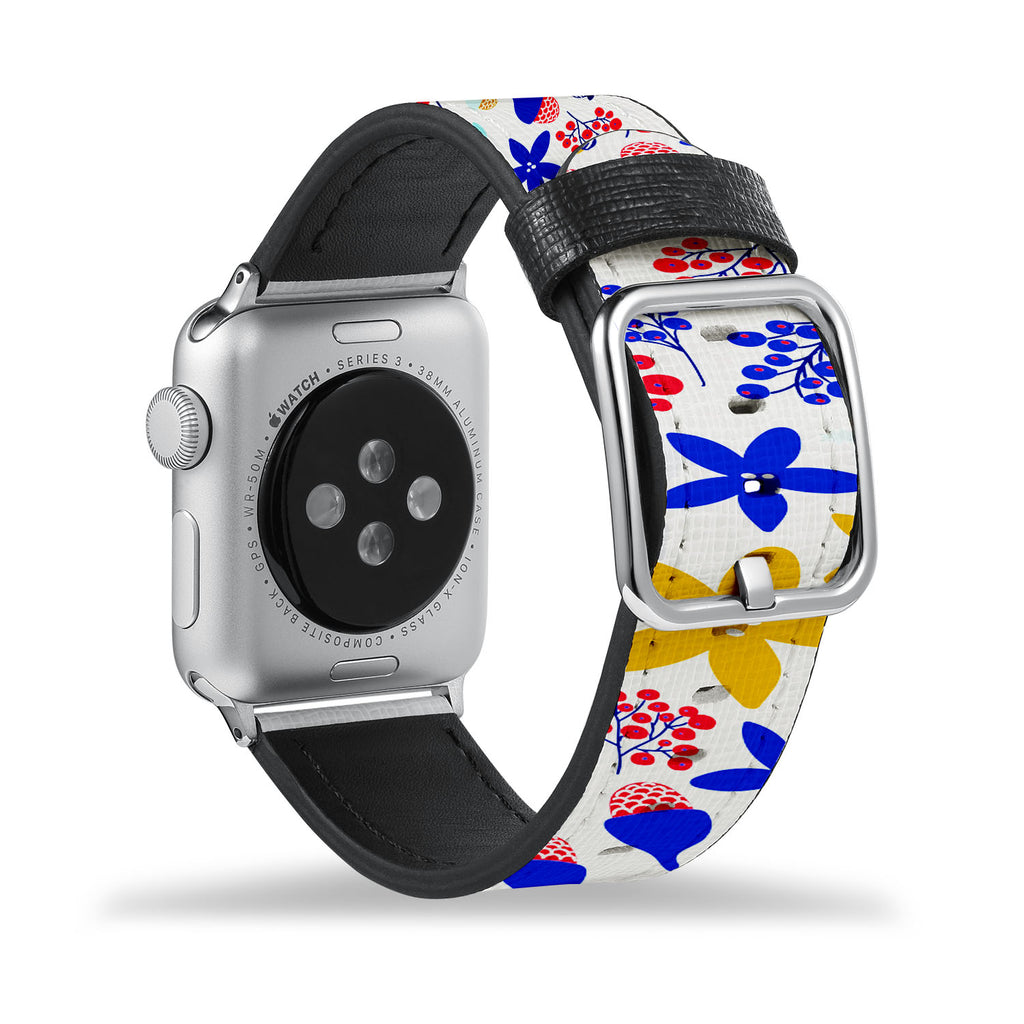 Printed Leather Apple Watch Band with Winter Pattern design Like all Apple Watch bands, you can match this band with any Apple Watch case of the same size