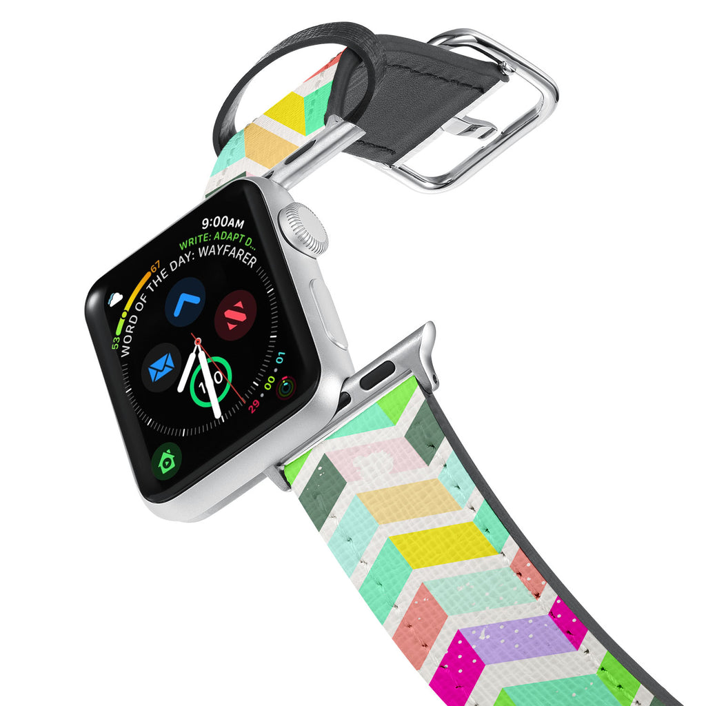 Printed Leather Apple Watch Band with Grungedup design. Designed for Apple Watch Series 4,Works with all previous versions of Apple Watch.