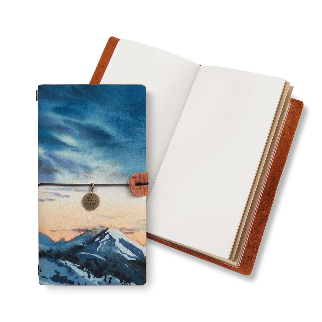 opened midori style traveler's notebook with Landscape design