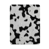 front view of personalized iPad case with pencil holder and Animal Skin design