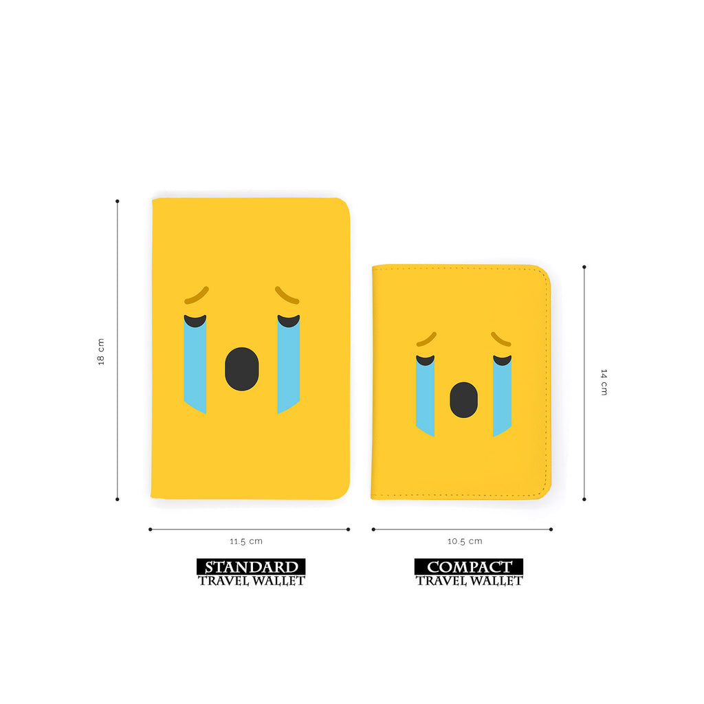 comparison of two sizes of personalized RFID blocking passport travel wallet with Emoji 2 design