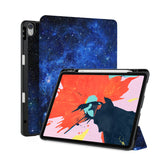 front back and stand view of personalized iPad case with pencil holder and Starry Night design