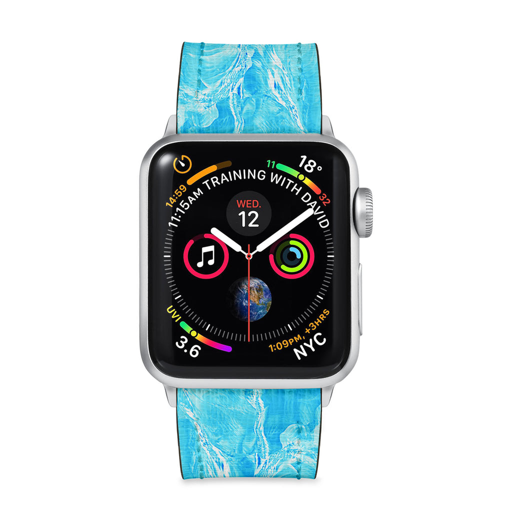 Our Printed Leather Apple Watch Band with Ice Pattern design are made of water- and scratch-resistant saffiano leather because we know you wear your apple watch every, single, day. - swap