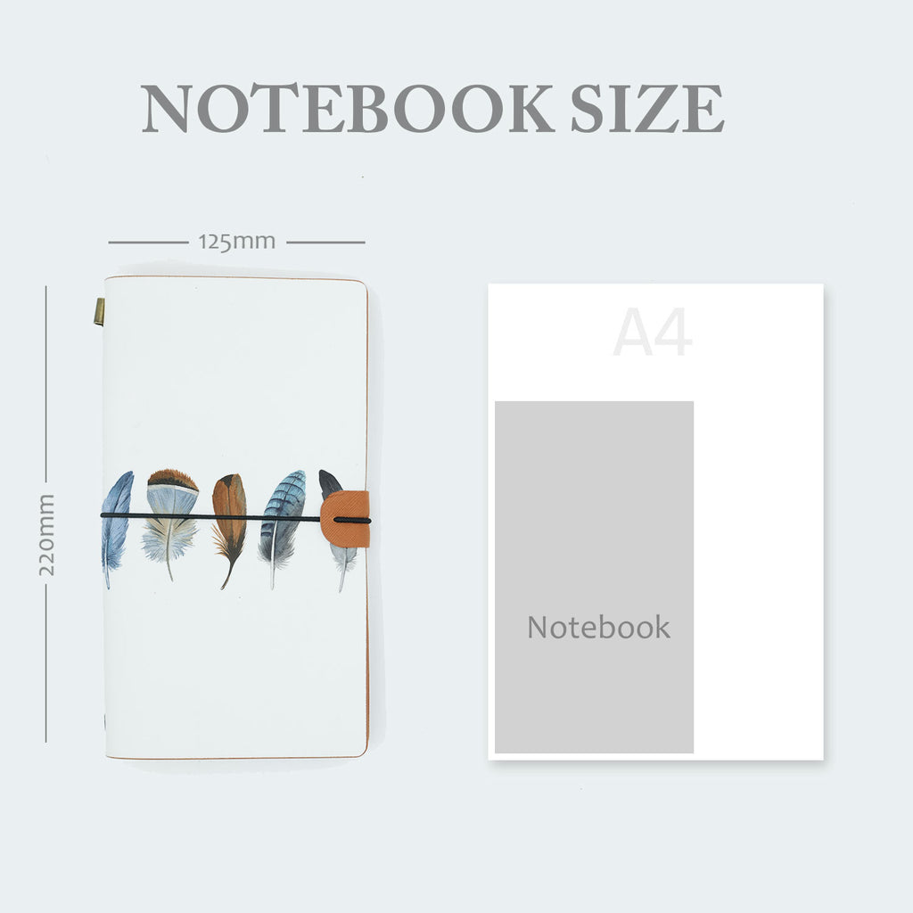 midori style traveler's notebook with boho feathers design in notebook size 220mm x 125mm