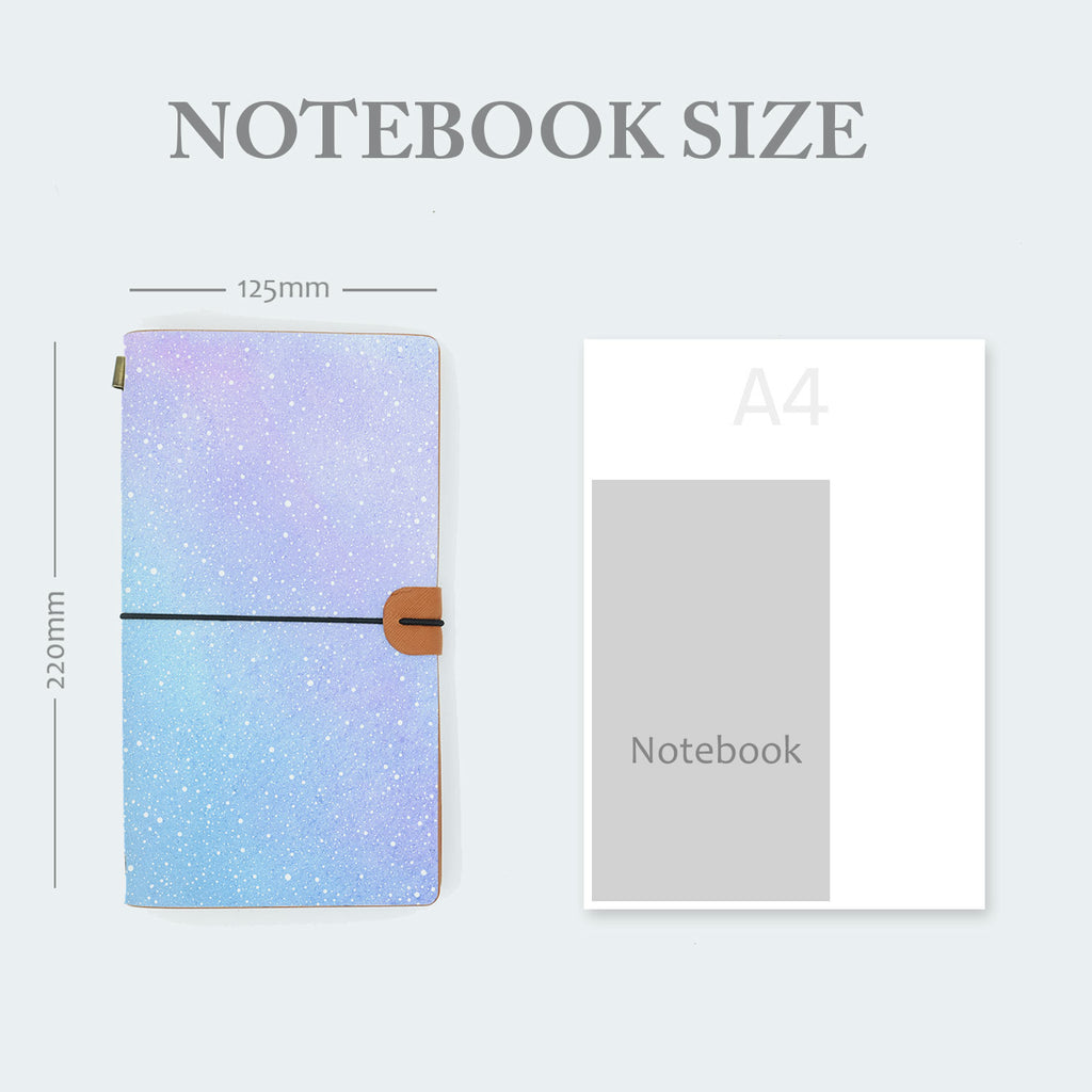 midori style traveler's notebook with ombre pastel galaxy design in notebook size 220mm x 125mm