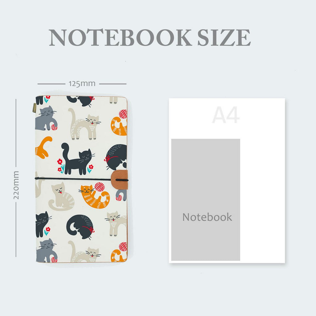 midori style traveler's notebook with playful pussycats design in notebook size 220mm x 125mm