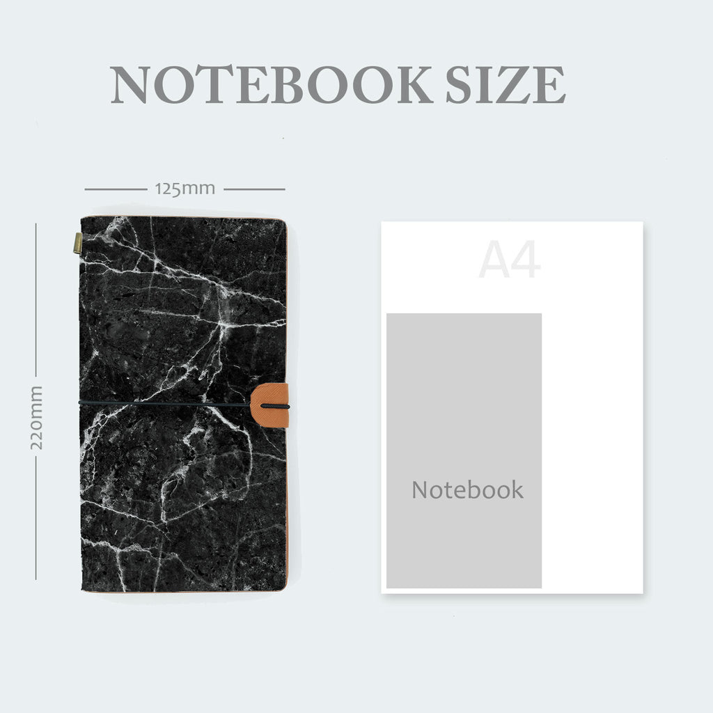 midori style traveler's notebook with moody marble design in notebook size 220mm x 125mm