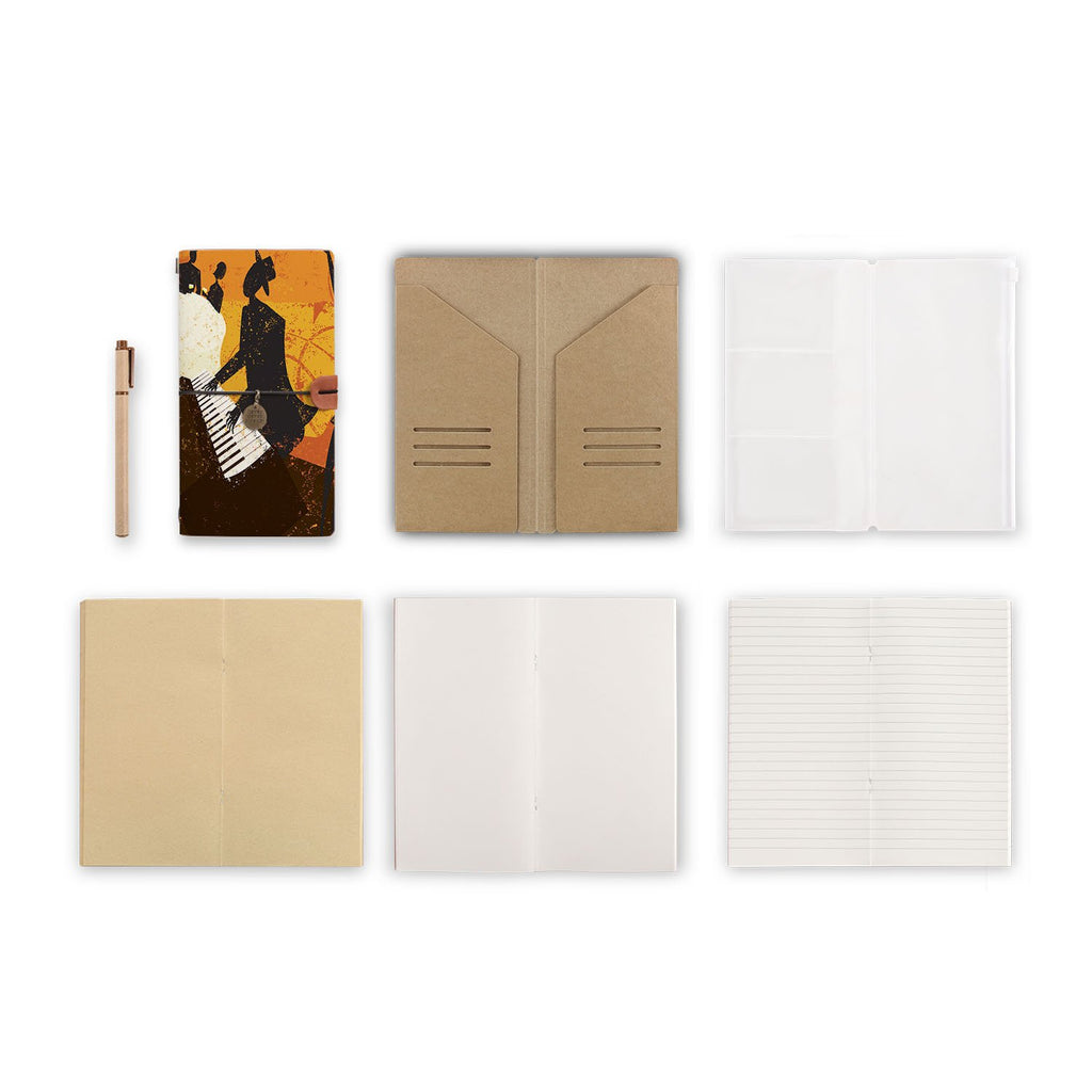midori style traveler's notebook with Music design, refills and accessories