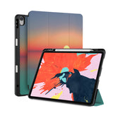 front back and stand view of personalized iPad case with pencil holder and Sunset Clouds design