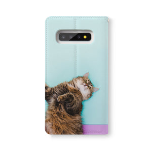 Back Side of Personalized Samsung Galaxy Wallet Case with Cat design - swap
