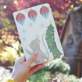 a girl holding personalized RFID blocking passport travel wallet with Christmas Gouache design