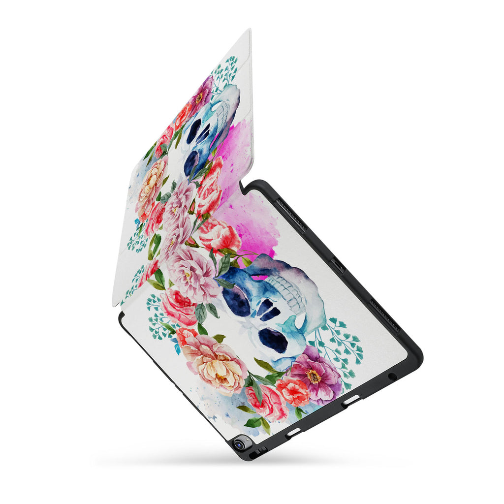 personalized iPad case with pencil holder and Gothic design