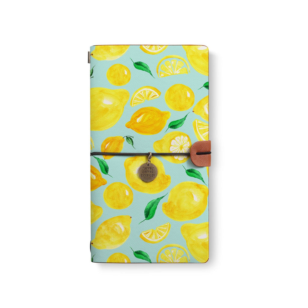 the front top view of midori style traveler's notebook with Fruit design