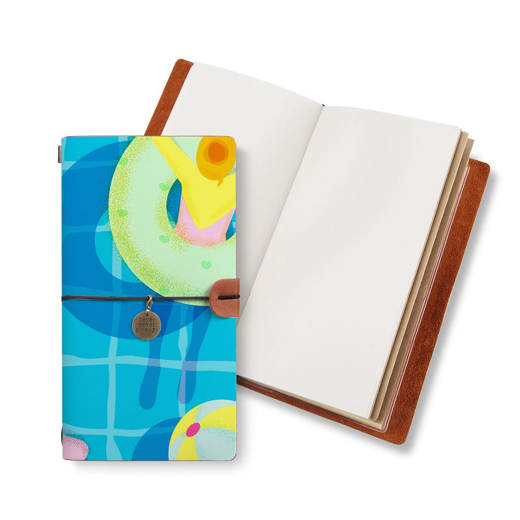 opened midori style traveler's notebook with Beach design
