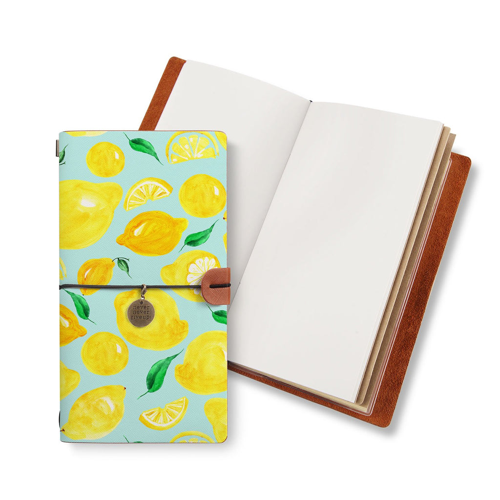 opened midori style traveler's notebook with Fruit design