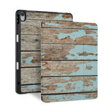 front and back view of personalized iPad case with pencil holder and Wood design