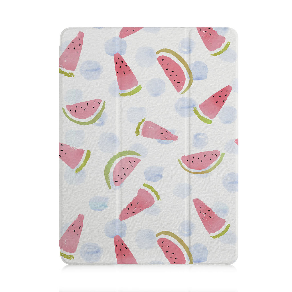 front view of personalized iPad case with pencil holder and Fruit design