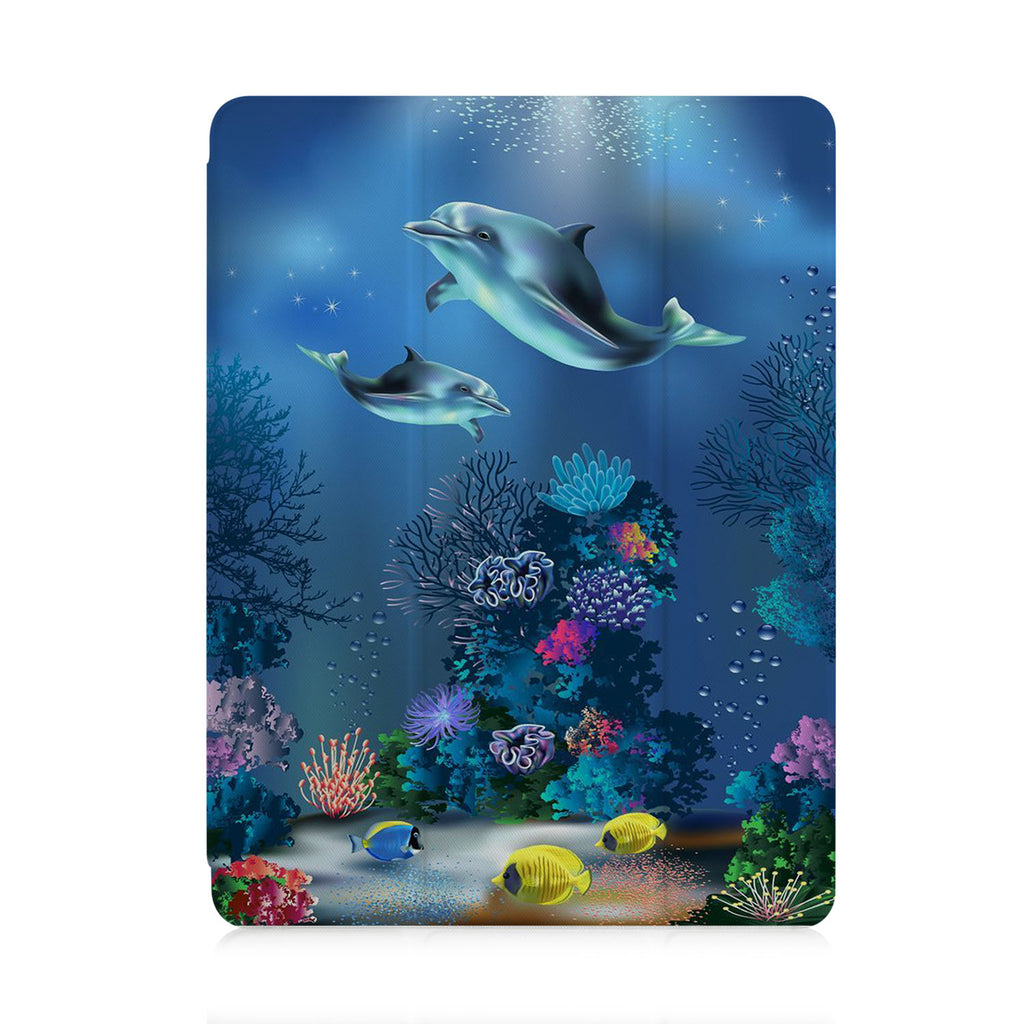 front view of personalized iPad case with pencil holder and Dolphin design
