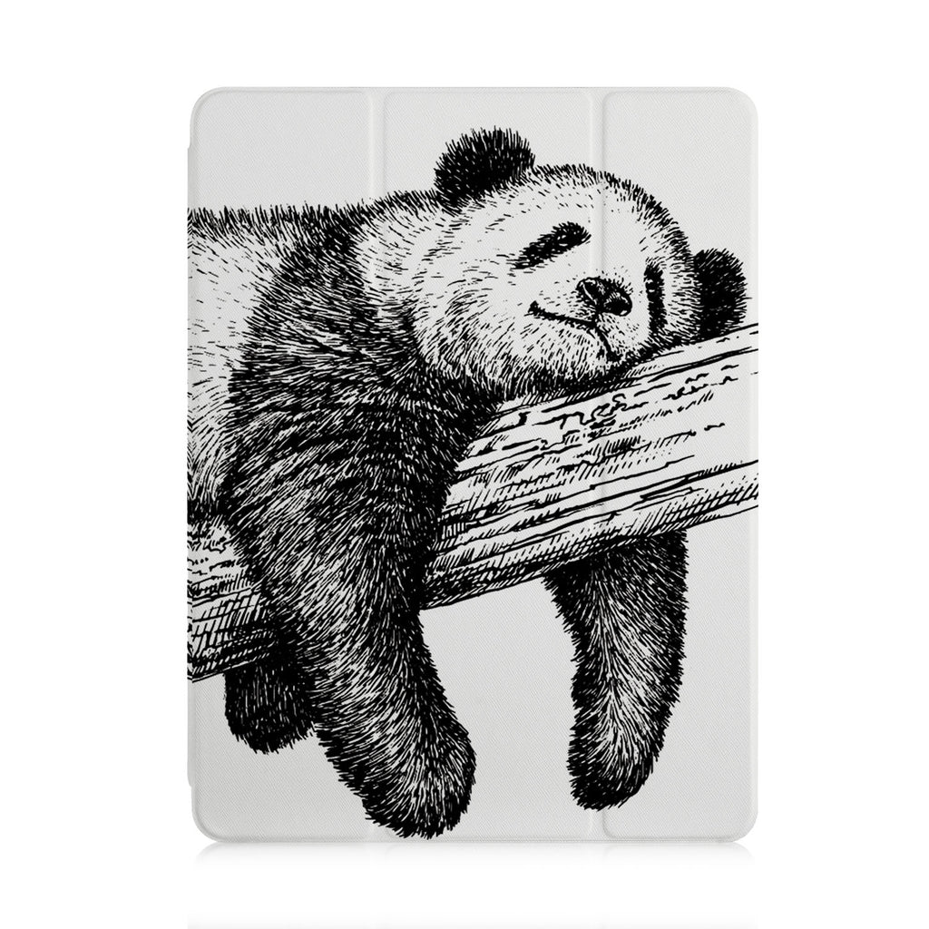 front view of personalized iPad case with pencil holder and Panda design