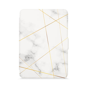 front view of personalized kindle paperwhite case with Marble 2020 design - swap