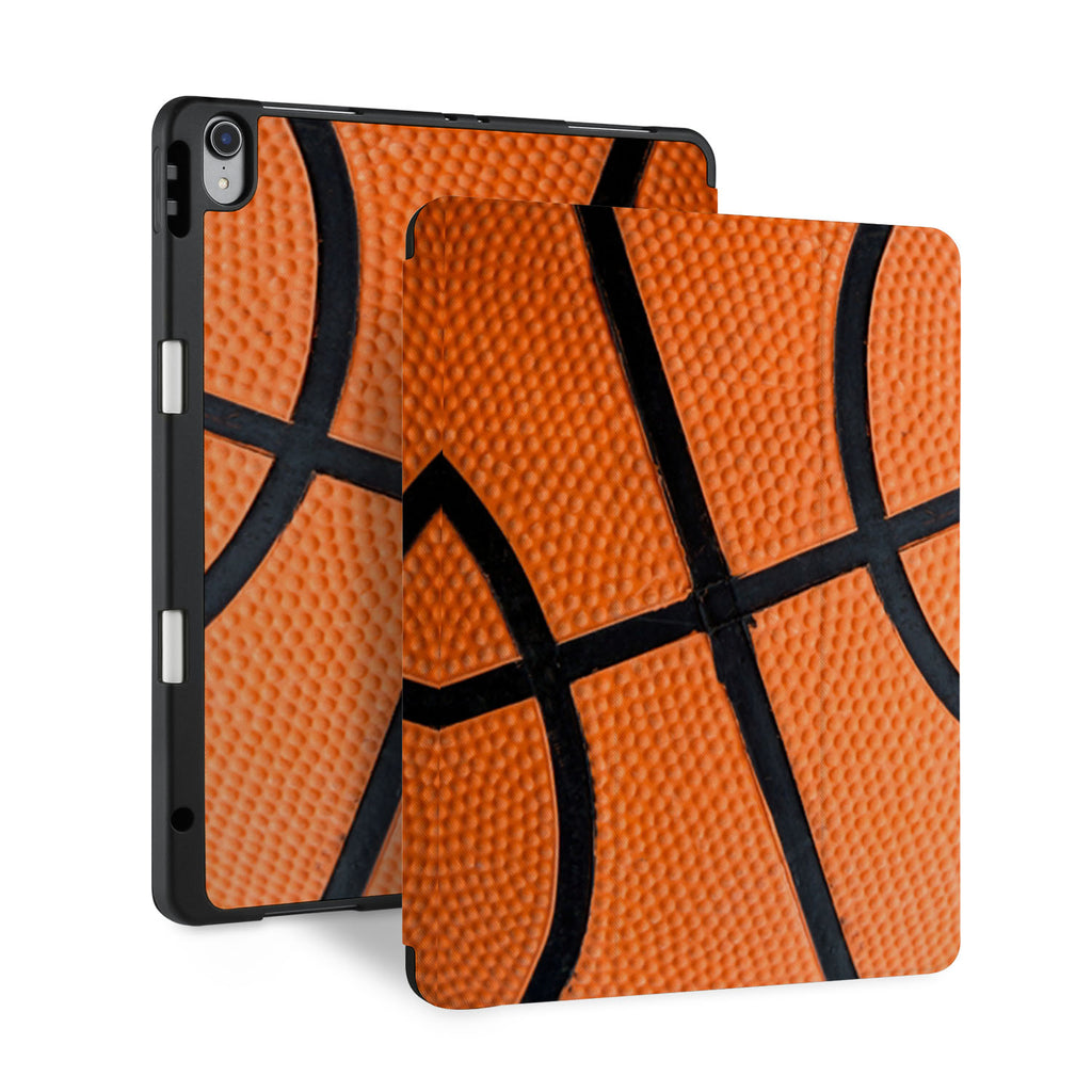 front and back view of personalized iPad case with pencil holder and Ball design
