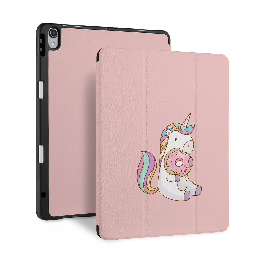 front and back view of personalized iPad case with pencil holder and Unicorn design