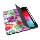 personalized iPad case with pencil holder and Flower BG design