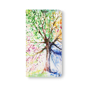 Front Side of Personalized Samsung Galaxy Wallet Case with WatercolorFlower design