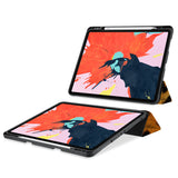movie and keyboard stand view of personalized iPad case with pencil holder and Animal Skin design