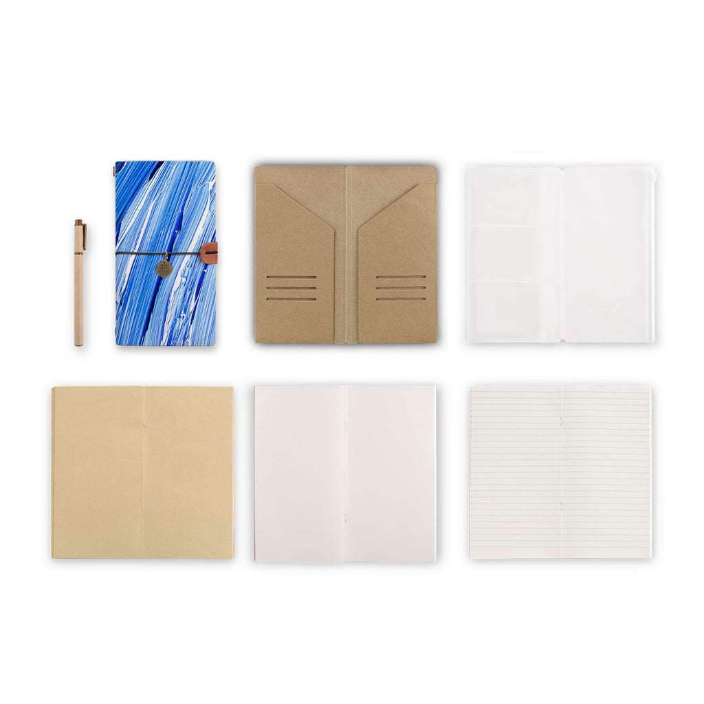 midori style traveler's notebook with Futuristic design, refills and accessories
