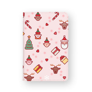 front view of personalized RFID blocking passport travel wallet with Christmas 2 design